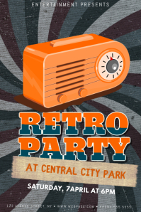 Retro Party Radio Live Event Flyer template