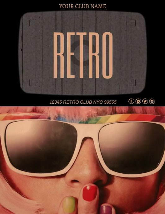 Retro Party Template Volante (Carta US)