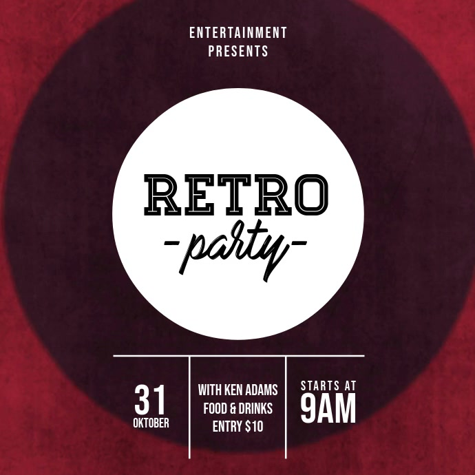 Retro party video advertising template Vierkant (1:1)