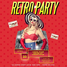 Retro Party Video Instagram Post Advertising template