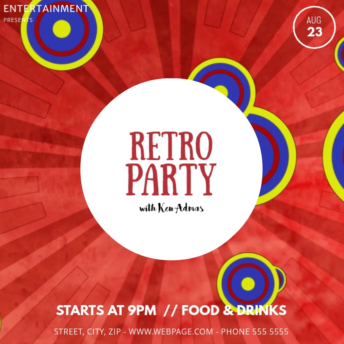 Retro party video template Instagram na Post