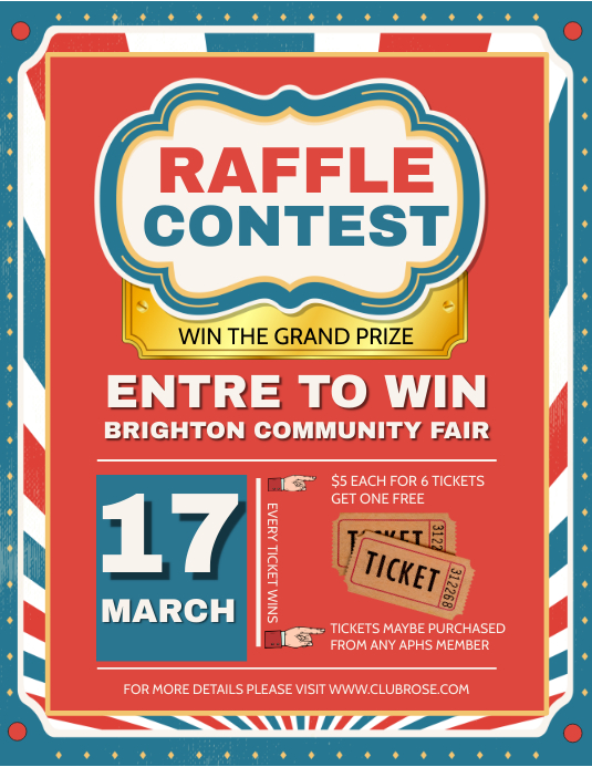 Retro Raffle Contest Flyer Template Postermywall