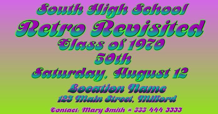 Retro Revisited Class Reunion Facebook 共享图片 template