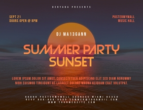Retro Summer Party Landscape Flyer Template