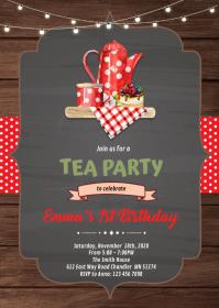 Retro tea brunch shower invitation A6 template