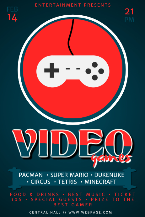 Retro Video Games Event Template