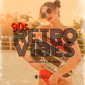 Retro vintage album cover design template ปกอัลบั้ม