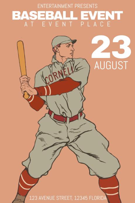 retro vintage baseball sport flyer poster template