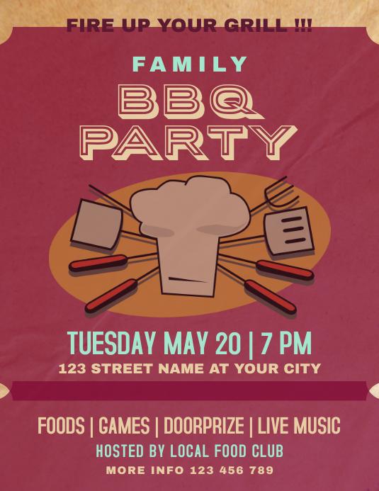 Retro Vintage Family Barbecue Party Event Volante (Carta US) template