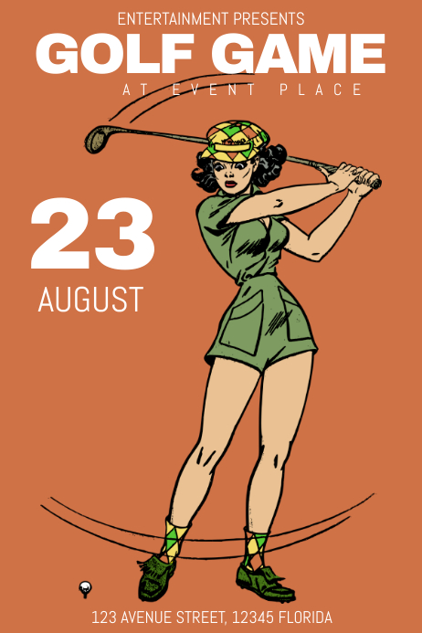 retro vintage golf game sport poster template