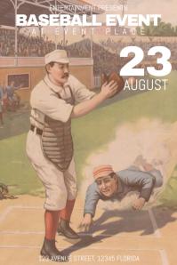 retro vintage sport baseball gae event poster template