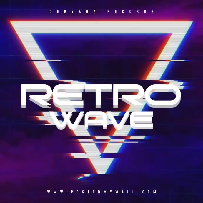 Retro Wave 80's Instagram Video CD Cover Square (1:1) template