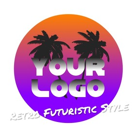 Retro Wave Futuristic Logo 80's template