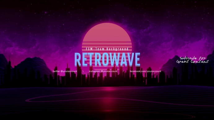 Retrowave youtube channel art banner template