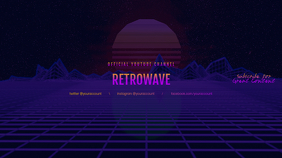 Retrowave youtube channel art banner