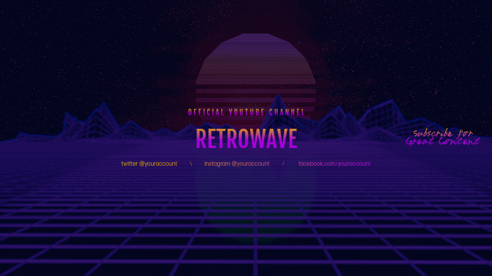Retrowave Youtube Channel Art Banner Template Postermywall
