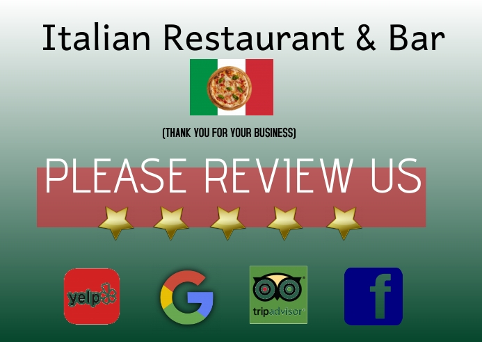 review us/thank you business/restaurant Kartu Pos template