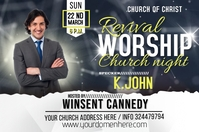 Revival Church service Etiket template
