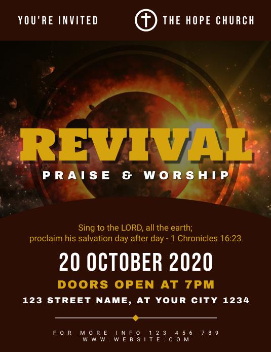Revival Praise and Worship Church Flyer