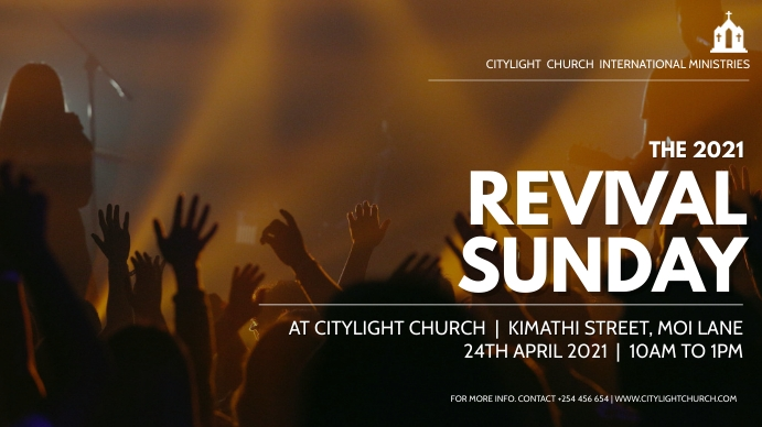 REVIVAL SUNDAY church flyer Digitalt display (16:9) template