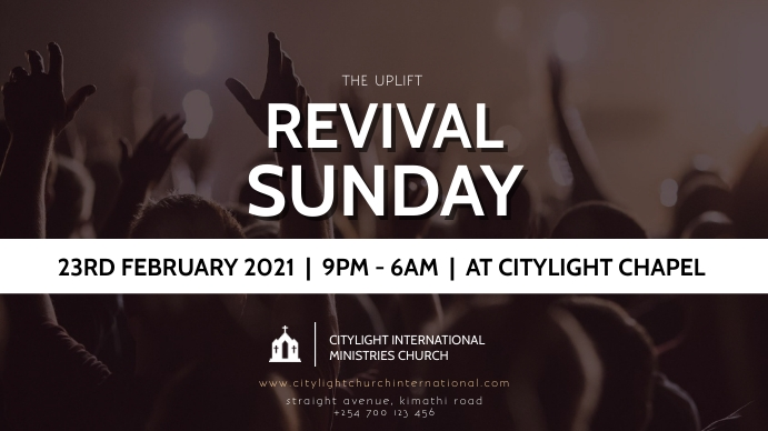 REVIVAL SUNDAY CHURCH flyer Digitale display (16:9) template