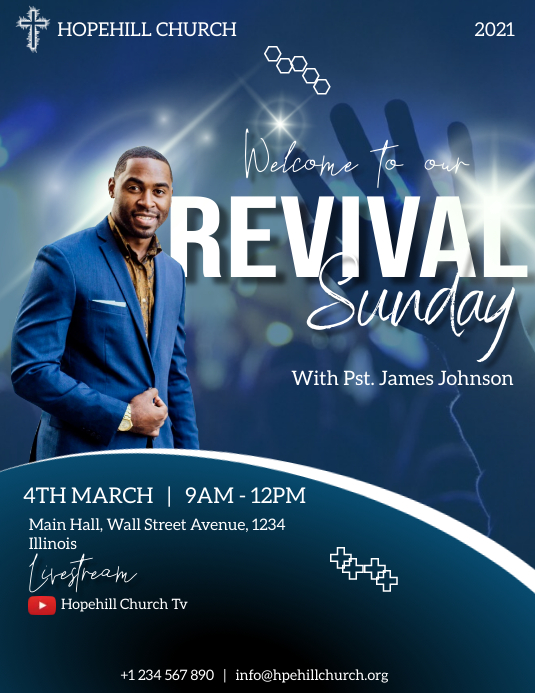 revival sunday service flyer template