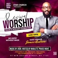 Revival Worship Church Flyer Instagram Post template