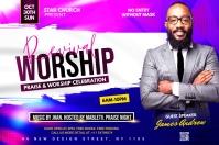 Revival worship flyer Etiqueta template