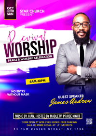 revival worship flyer A4 template