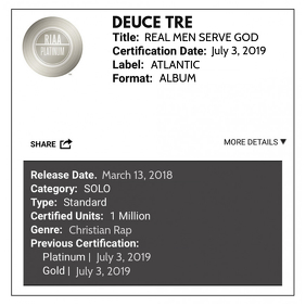 RIAA PLATINUM CERTIFICATION