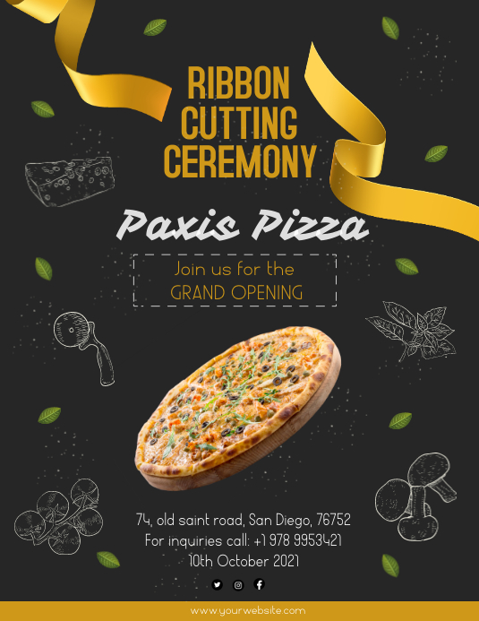 Ribbon cutting ceremony Flyer template