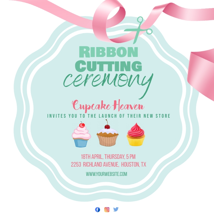 Ribbon cutting ceremony Instagram post template