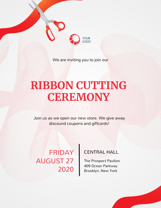 Ribbon cutting Event Invitation Template Flyer (Letter pang-US)