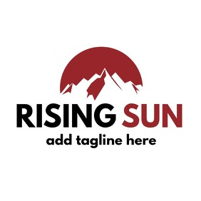 Rising sun logo red and black