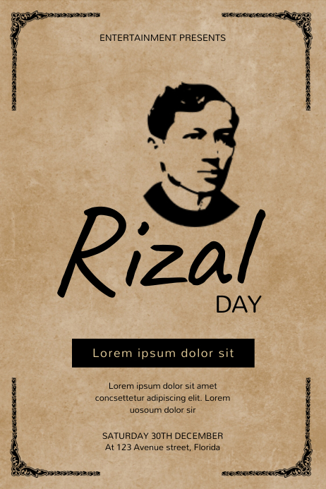 Rizal Day Flyer Design Template Affiche