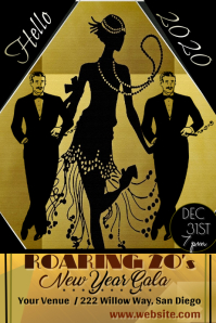 Roaring 20s New Year's Party Poster template
