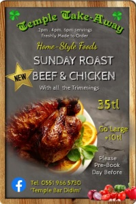 Roast Chicken Dinner Poster template