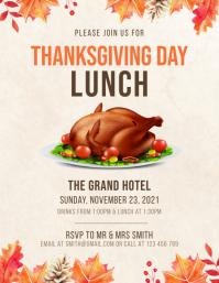 Roast Thanksgiving lunch flyer template