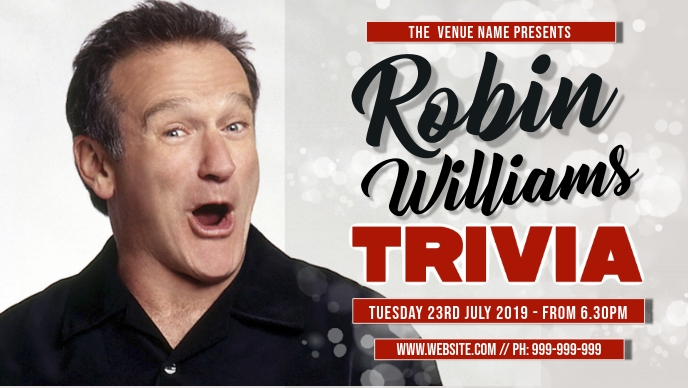 Robin Williams Trivia Event Cover Vidéo de couverture Facebook (16:9) template