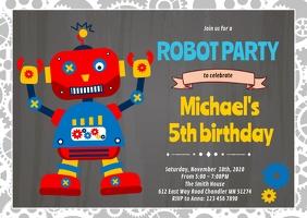 Robot birthday invitation A6 template