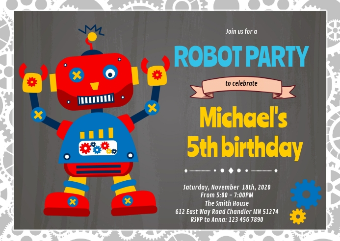 Robot birthday invitation A6 template