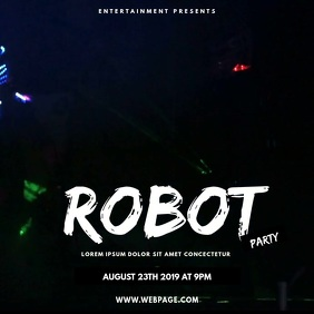 Robot dance party Night club video instagram Vierkant (1:1) template