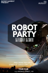 Robot party night flyer template