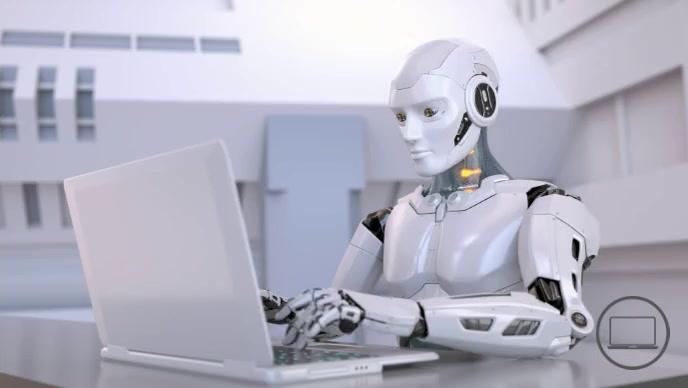 Robot running computer at office video Thumbnail sa YouTube template