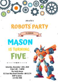 Robot transformer Birthday Invitation A6 template