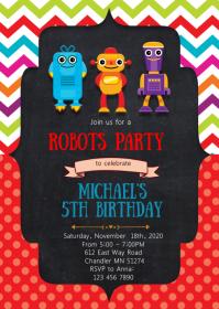 Robots birthday party invitation