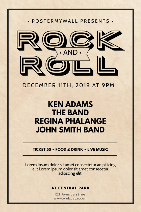 Rock and roll vintage Flyer Design Template