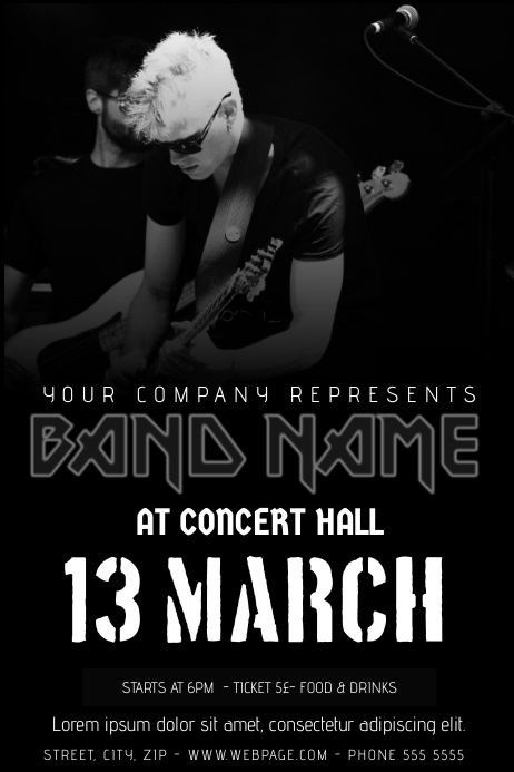Rock Band Concert Flyer Template Black And White PosterMyWall