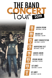 Rock Band Concert Tour Schedule Flyer