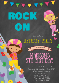 Rock climbing birthday invitation